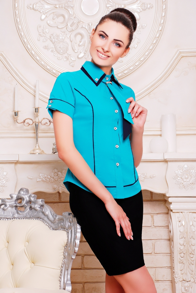 "Рубашка ""Николь""бирюза+темно-синий"