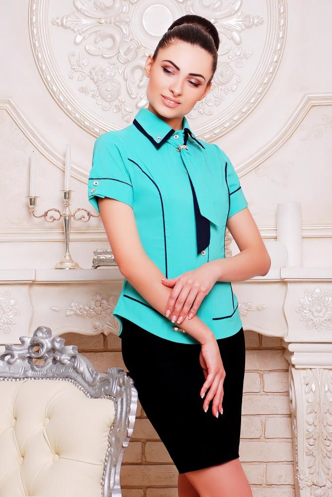 """Рубашка """"Николь""""мята+темно-синий"""
